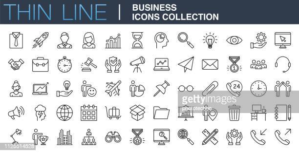 modern business icons collection - icon set stock illustrations