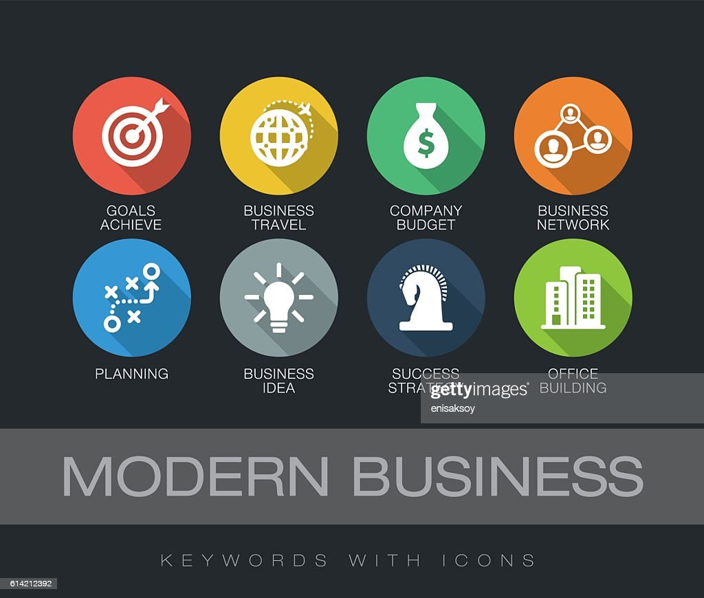 Modern Business keywords with icons : stock illustration