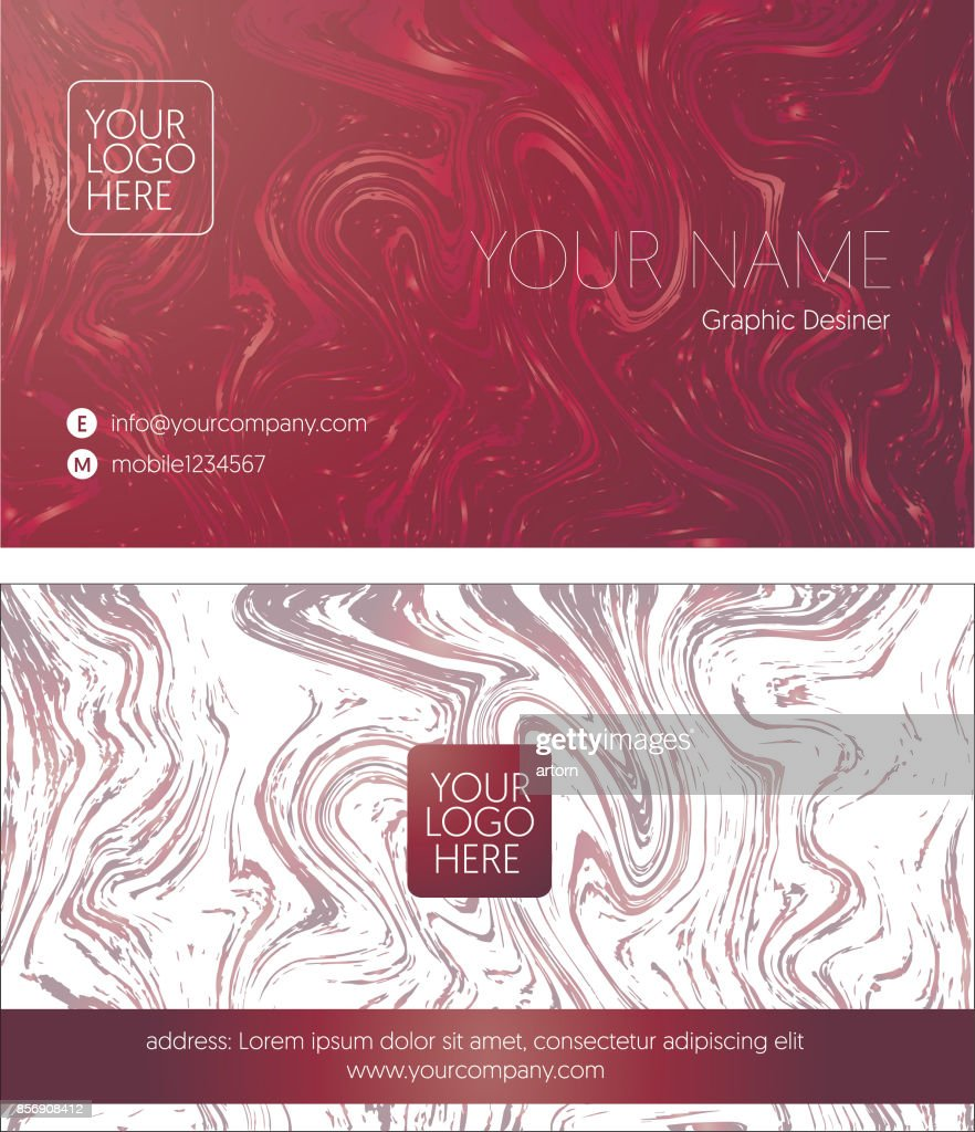 modern Business name card layout in pink marble background theme