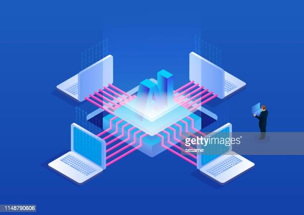 modern business technology and artificial intelligence - automated stock illustrations
