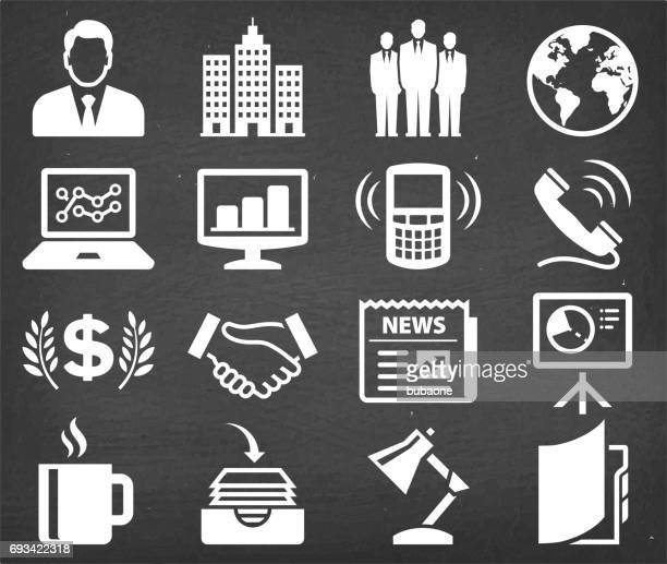 Modern Business Vector Icon set on Black Chalkboard