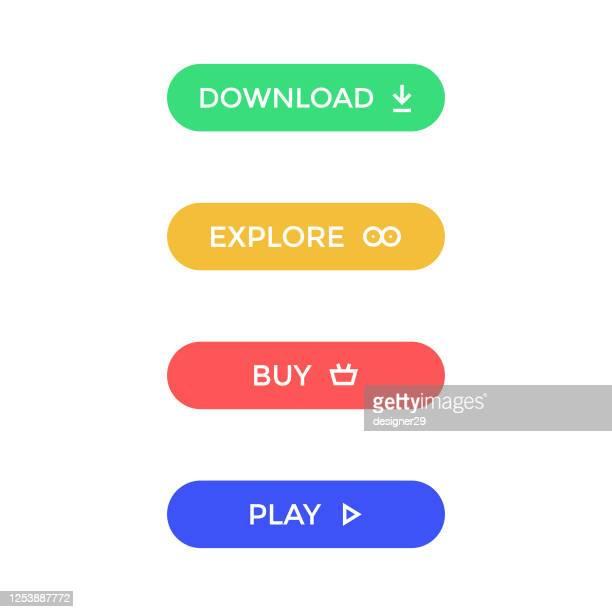 moderne knopf-icon-set. herunterladen, erkunden, kaufen und spielen button flat design. - graphische benutzeroberfläche stock-grafiken, -clipart, -cartoons und -symbole