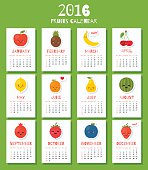 Modern calendar for new 2016 year with funny cartoon fruits