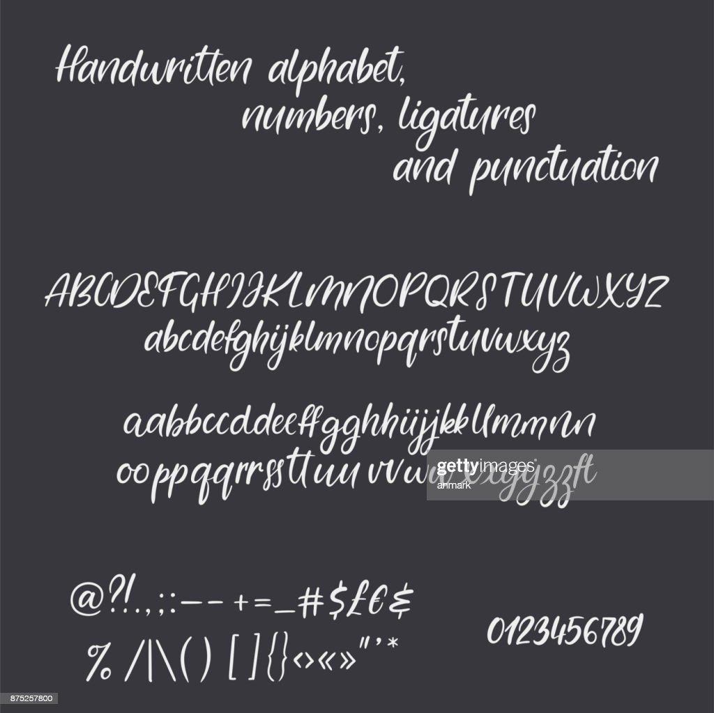 Modern Calligraphy Alphabet Handwritten Brush Letters Hand Lettering Font With Ligatures