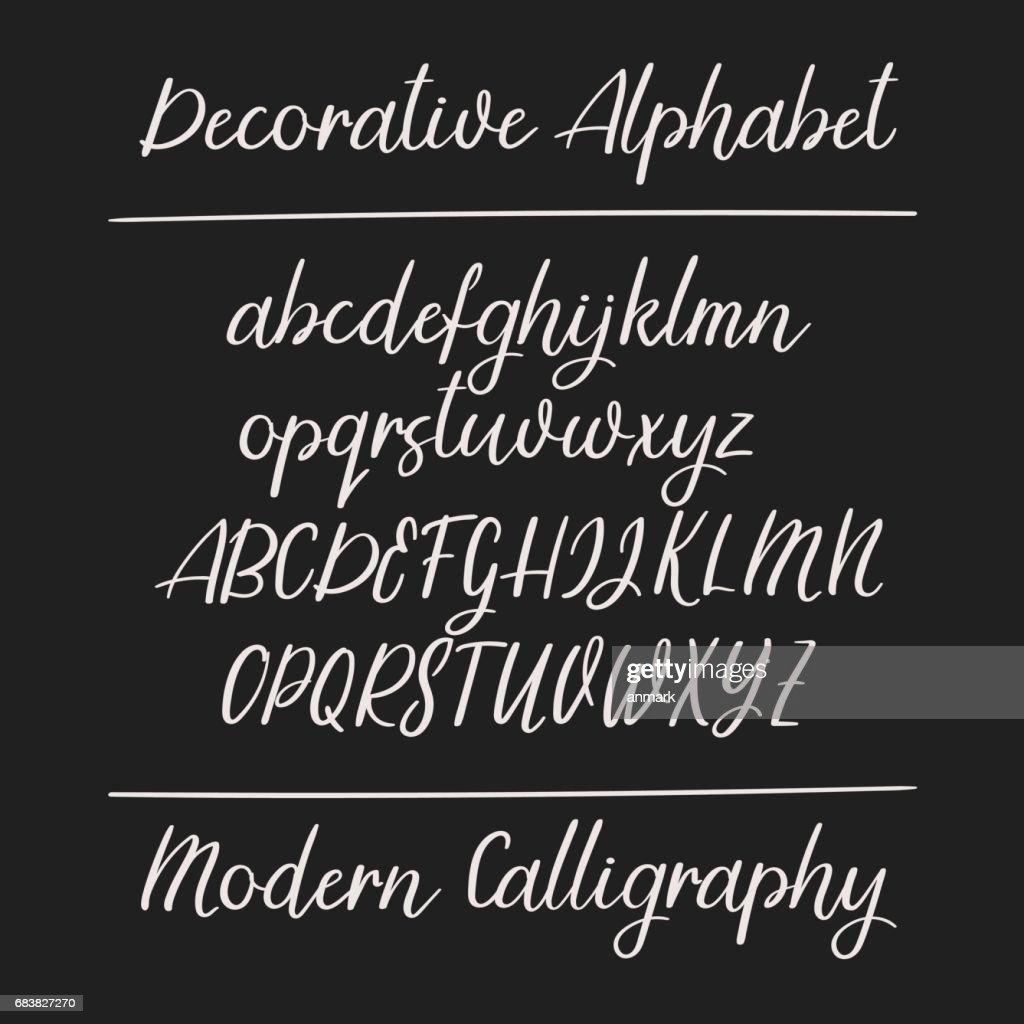 Modern calligraphy alphabet. Handwritten brush letters. Uppercase, lowercase. Vector font.