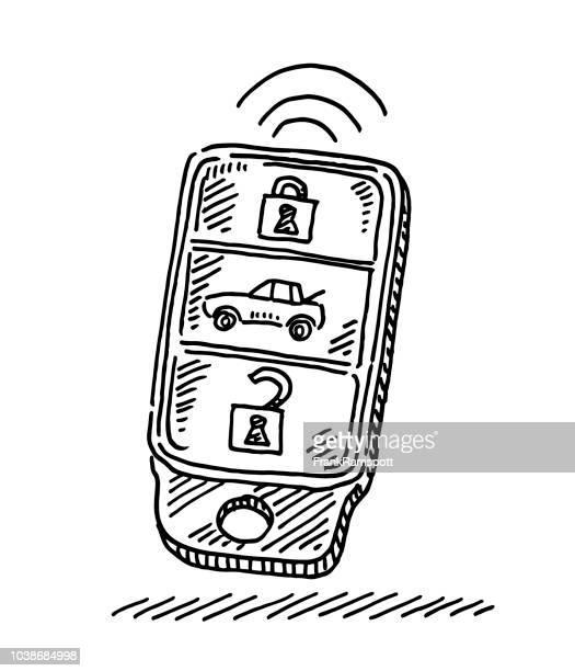 modern car key drawing - car key stock illustrations, clip art, cartoons, & icons