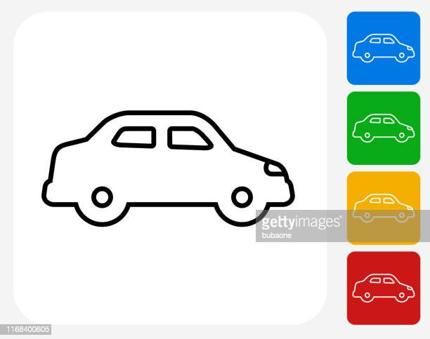 modern car side view icon - domestic car stock illustrations, clip art, cartoons, & icons