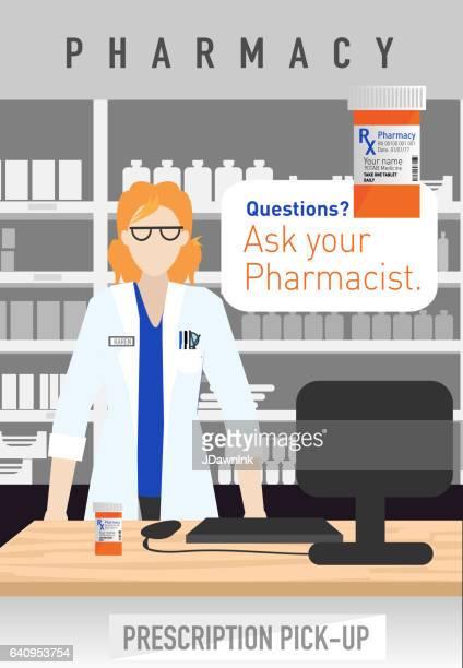 モダンな白人女性薬剤師