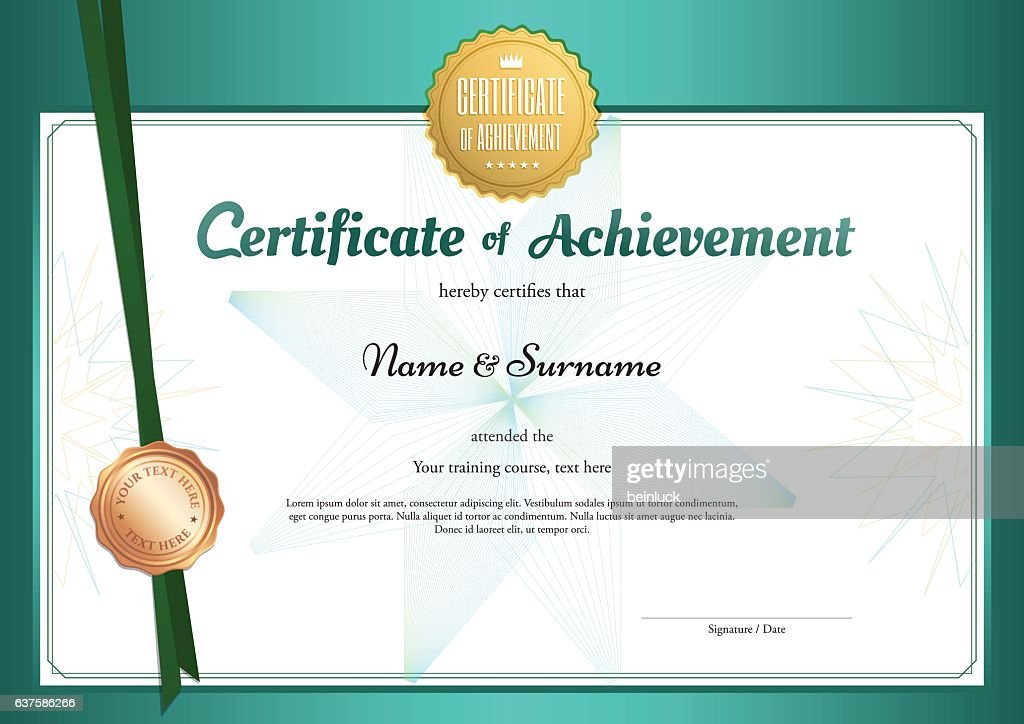 Modern certificate of achievement template in environment theme