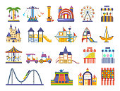 Modern children s amusement park, with attractions. Playgrounds for children
