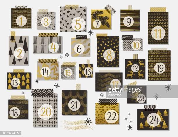 illustrazioni stock, clip art, cartoni animati e icone di tendenza di modern christmas advent calendar in neutral colors with gold highlights - avvento