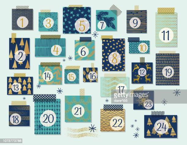 illustrations, cliparts, dessins animés et icônes de calendrier de l'avent noël moderne, de menthe et de bleu marine avec des reflets or - avent