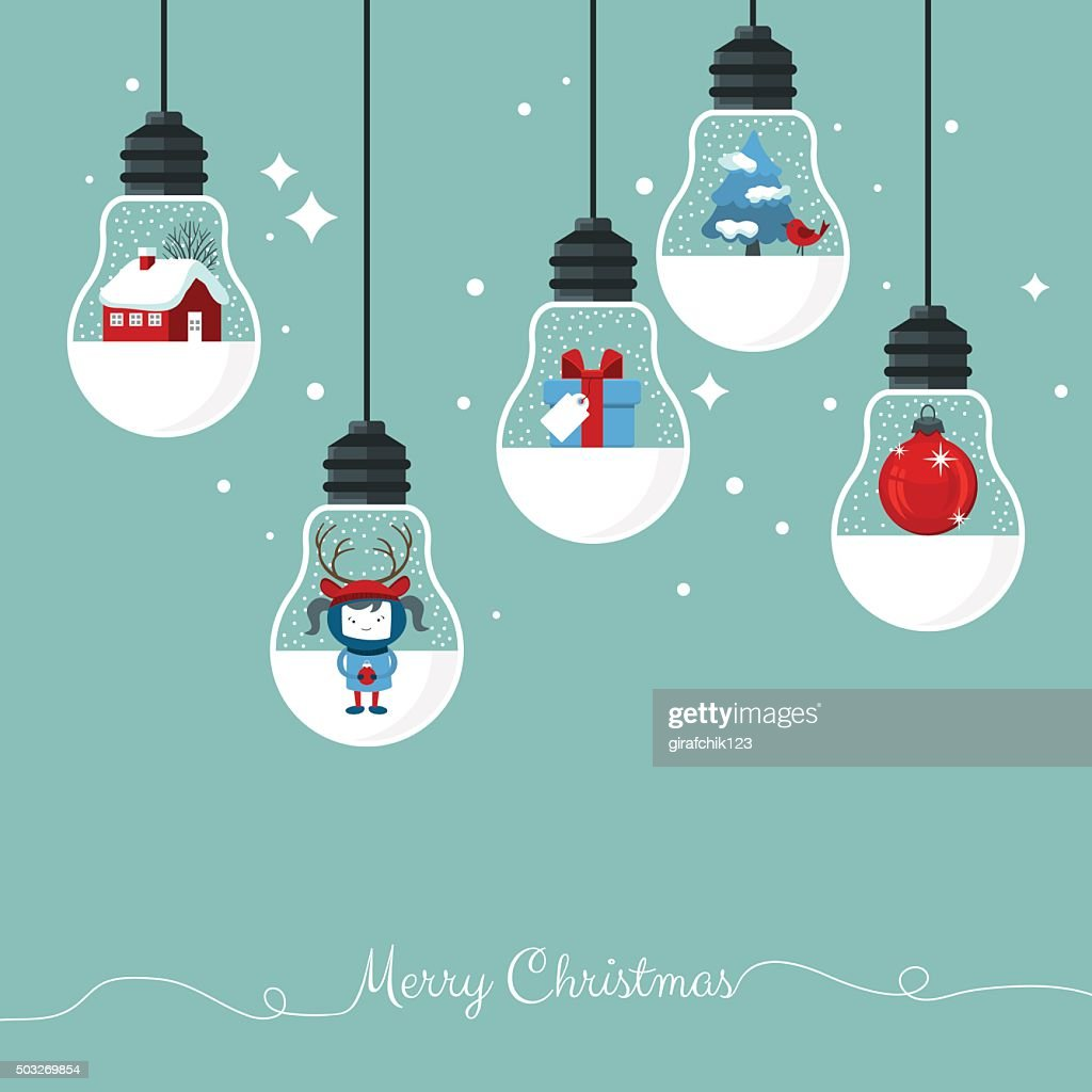 Modern Christmas card flat  stylish design.