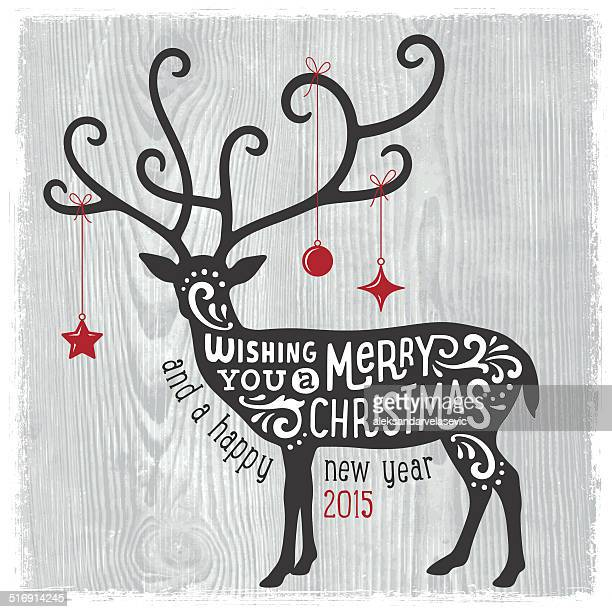 modern christmas card with reindeer - antler stock illustrations