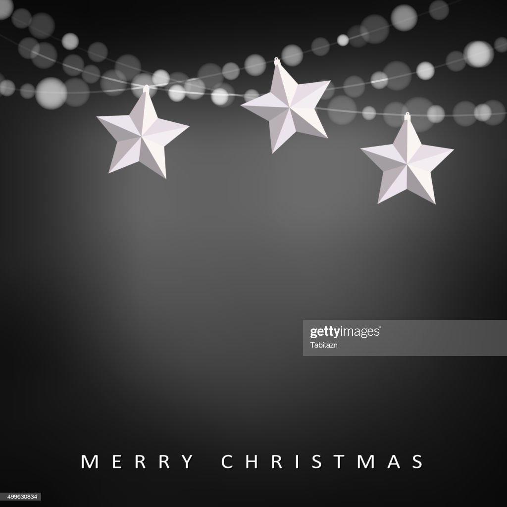Modern christmas greeting card, garland of lights, folded paper stars
