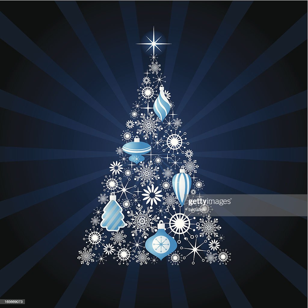 Modern Christmas Tree Illustration Is Blue And Silver High Res Vector Graphic Getty Images