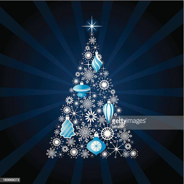 Modern Christmas tree illustration is blue and silver