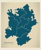 Modern City Map - Charlotte North Carolina city of the USA with boroughs