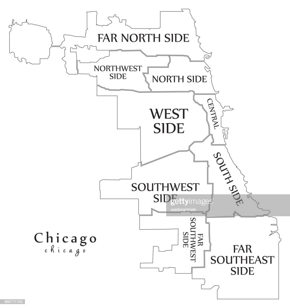 Modern City Map Chicago City Of The Usa With Boroughs And les ... on