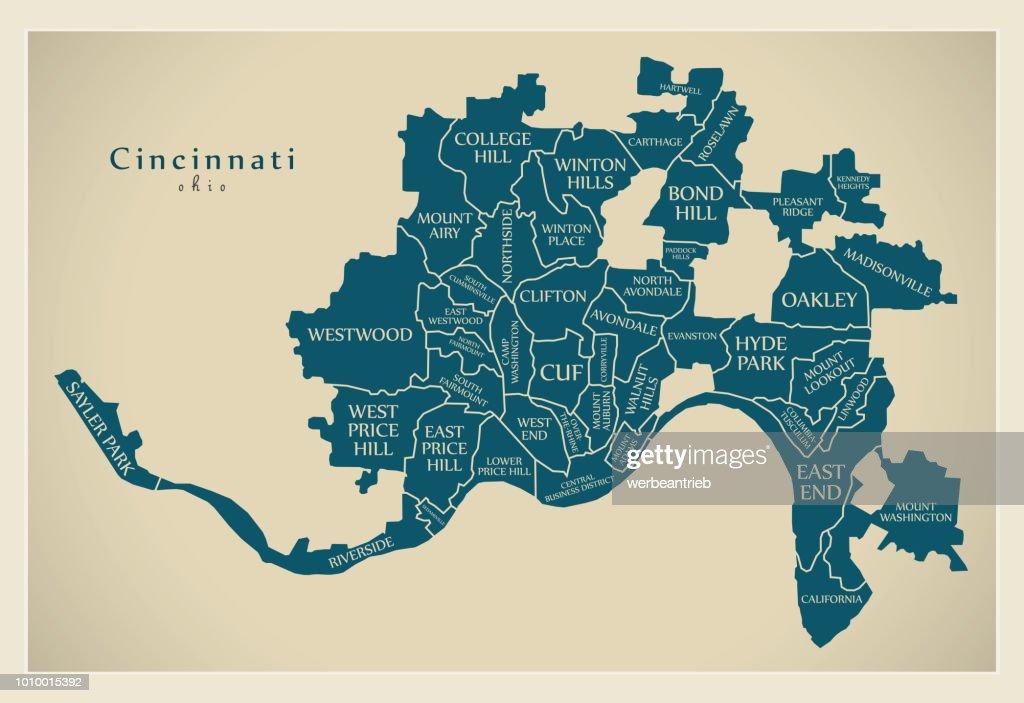 Modern City Map - Cincinnati Ohio city of the USA with neighborhoods and titles