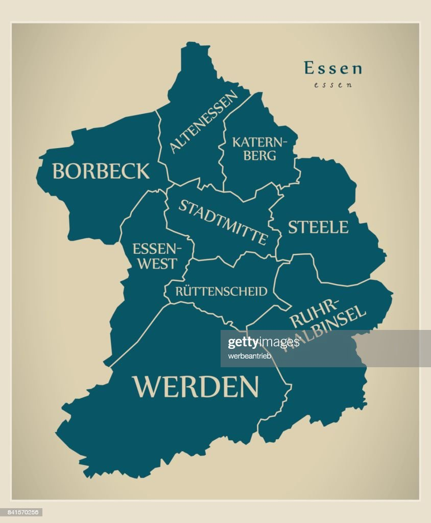 Modern City Map - Essen city of Germany with boroughs and titles DE
