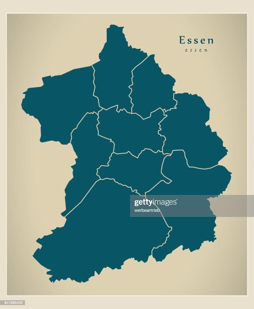 Modern City Map - Essen city of Germany with boroughs DE