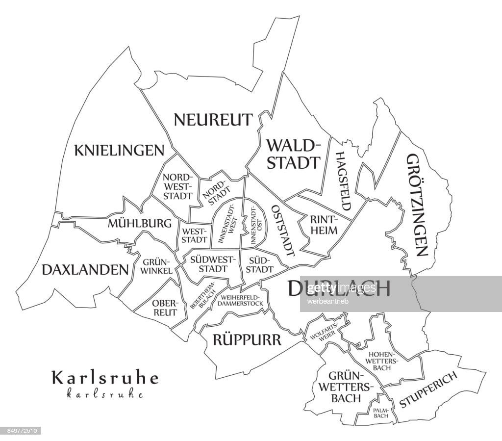 Modern City Map Karlsruhe City Of Germany With Boroughs And Titles