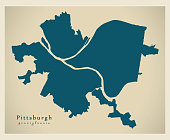 Modern City Map - Pittsburgh Pennsylvania city of the USA