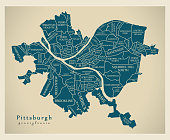 Modern City Map - Pittsburgh Pennsylvania city of the USA with neighborhoods and titles
