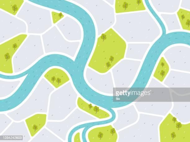 モダンシティマップ - 河川点のイラスト素材/クリップアート素材/マンガ素材/アイコン素材