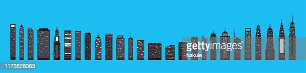 modern city skyline on blue background - tall high stock illustrations