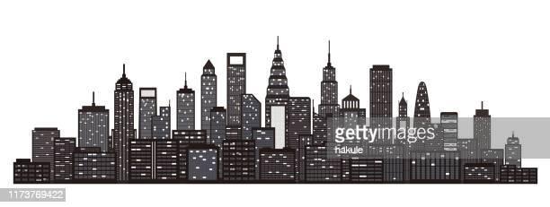 ilustrações, clipart, desenhos animados e ícones de skyline moderna da cidade no fundo branco - ponto turístico internacional