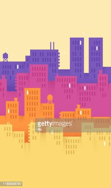 modern city vertical background - city life stock illustrations