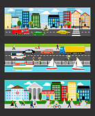 Modern cityscape set in industrial megapolis banners vector illustration