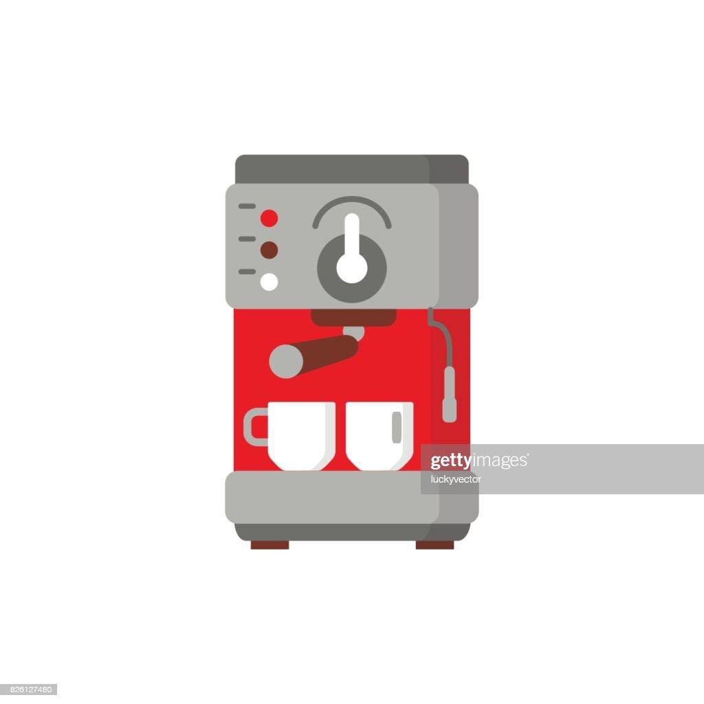 Modern coffee machine flat icon.