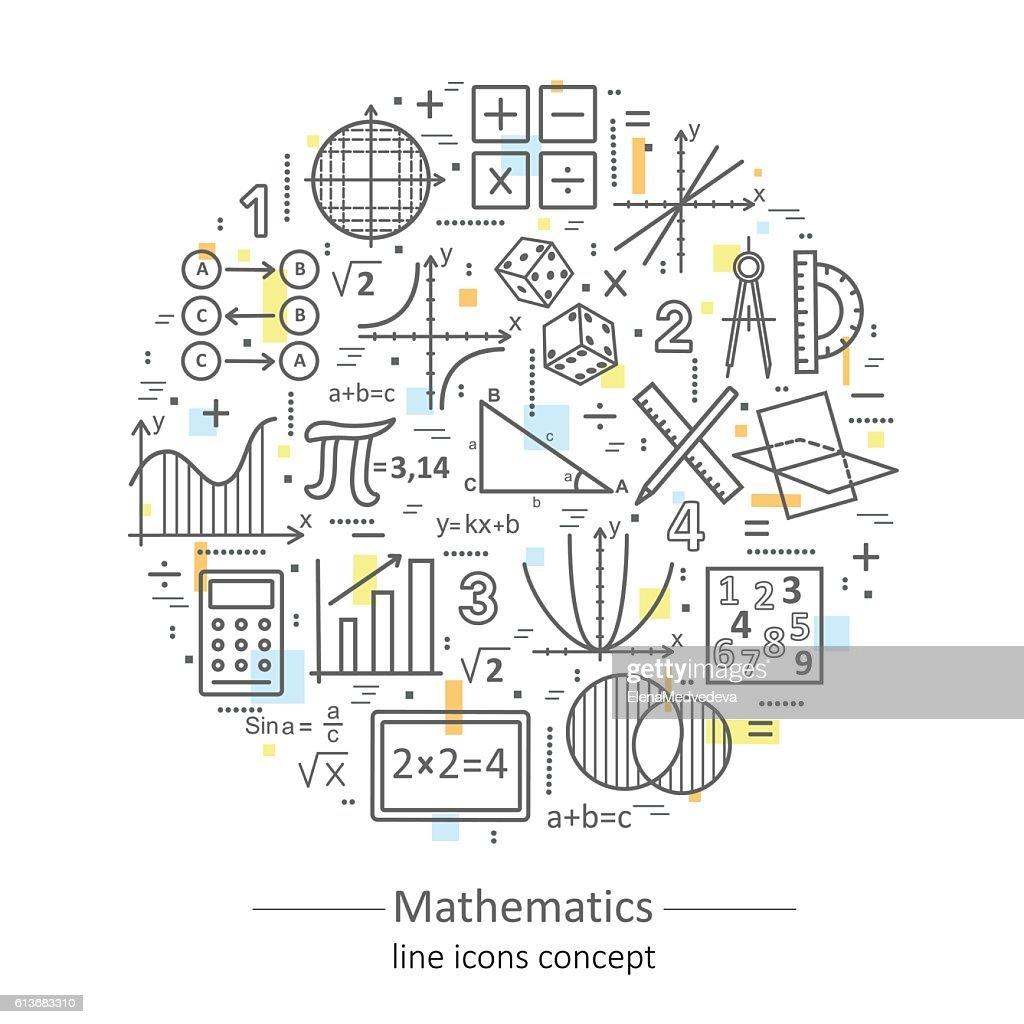 Modern color thin line concept of mathematics.