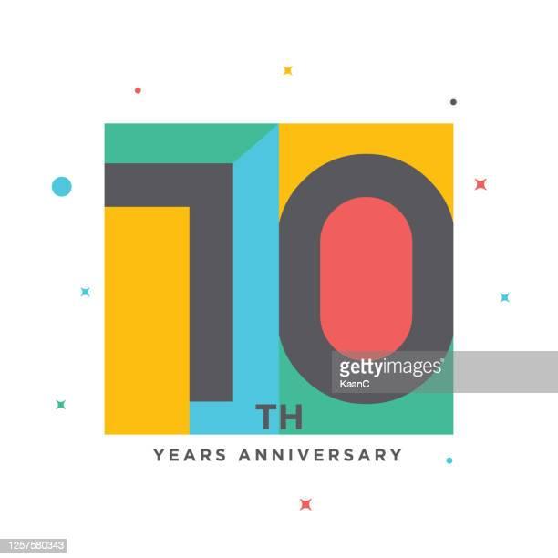 modern colorful anniversary logo template isolated, anniversary icon label, anniversary symbol stock illustration - 100th anniversary stock illustrations