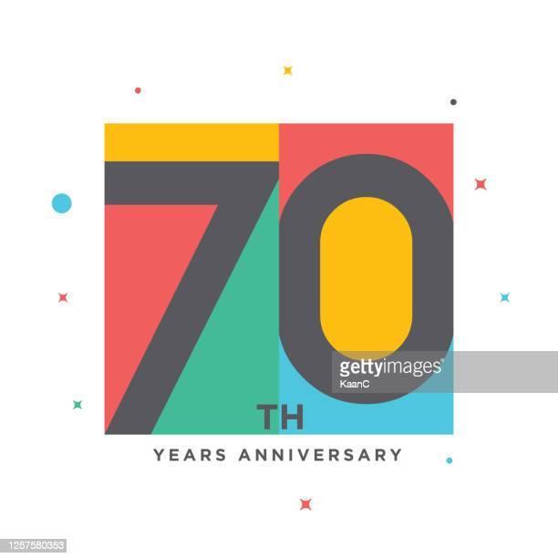 modern colorful anniversary logo template isolated, anniversary icon label, anniversary symbol stock illustration - 60th anniversary stock illustrations