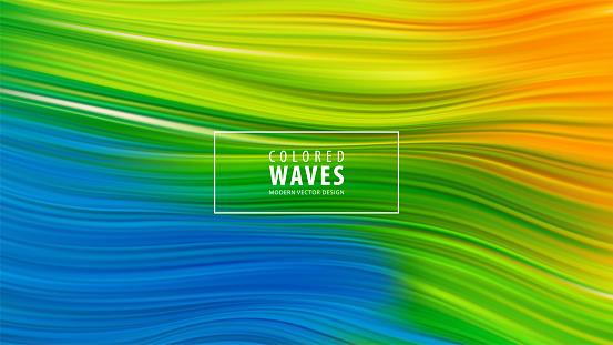 Modern colorful flow poster. Wave Liquid shape in blue color background. Art design. Vector illustration EPS10 - gettyimageskorea