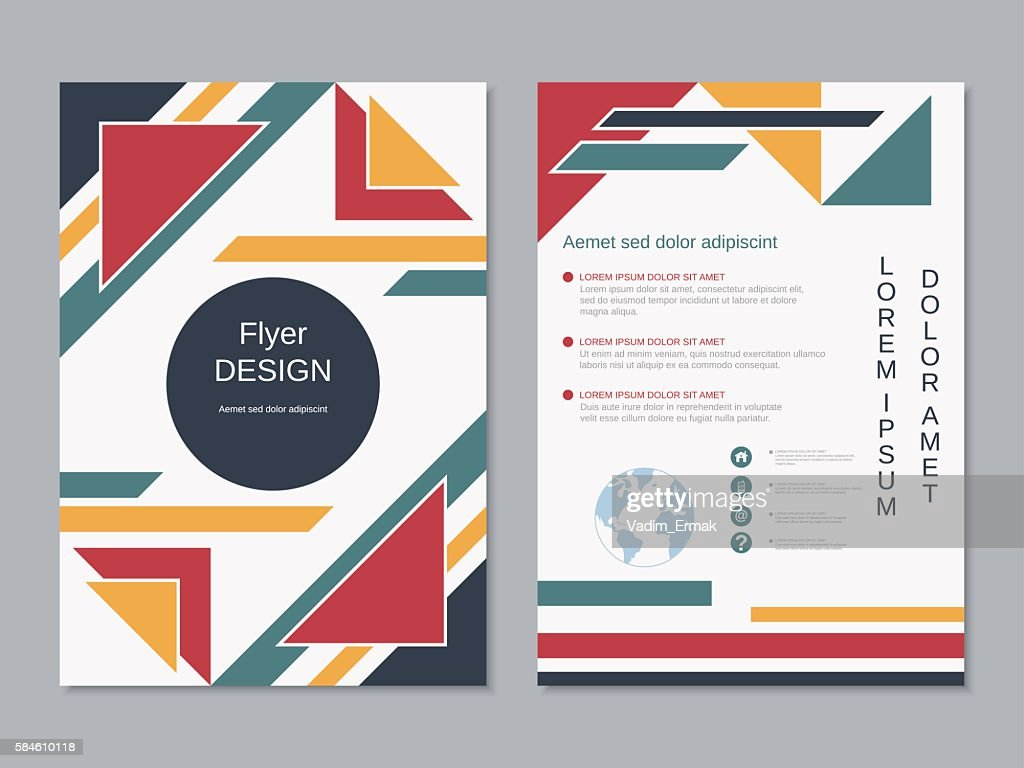 modern colorful twosided professional flyer template vector art