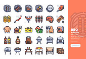 Modern Colorline icons set of BBQ party. 48x48 Pixel Perfect icon. Editable Stroke.