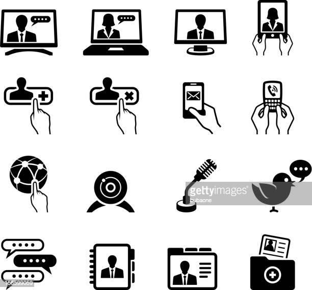 modern communication black & white royalty free vector icon set
