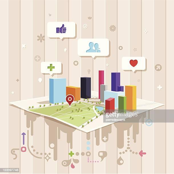 Moderne Kommunikation Design-gesellschaftliche Leben, Arbeiten, Kontakte knüpfen