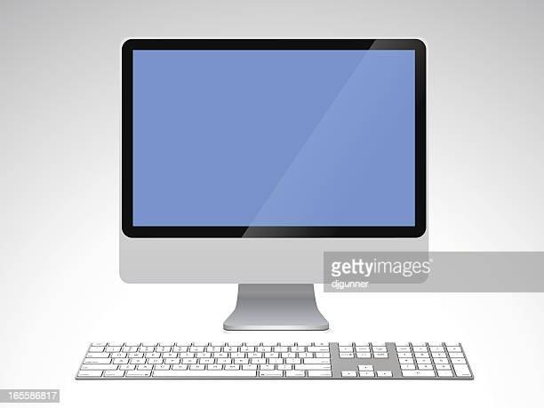 ilustraciones, imágenes clip art, dibujos animados e iconos de stock de teclado de la computadora moderna y - teclado de ordenador