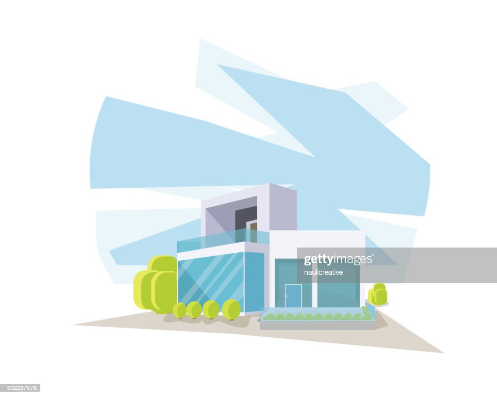 Modern Contemporary House In Perspective View Illustration