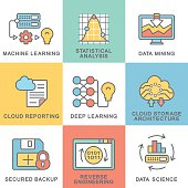 Modern contour icons of data science technology, machine learning process.