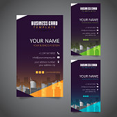 Modern Corporate Business Card with 3 Alternate Colors and Vectorized Buildings