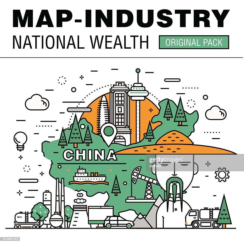 Modern country development flat industry. Thin line map concept