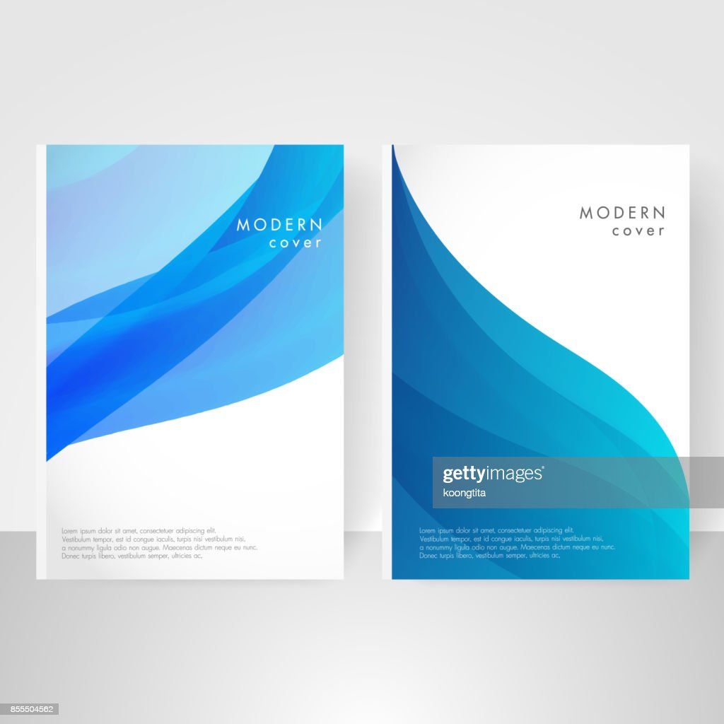 Modern covers with blue twisting shapes. Trendy minimal design, abstract background vector.
