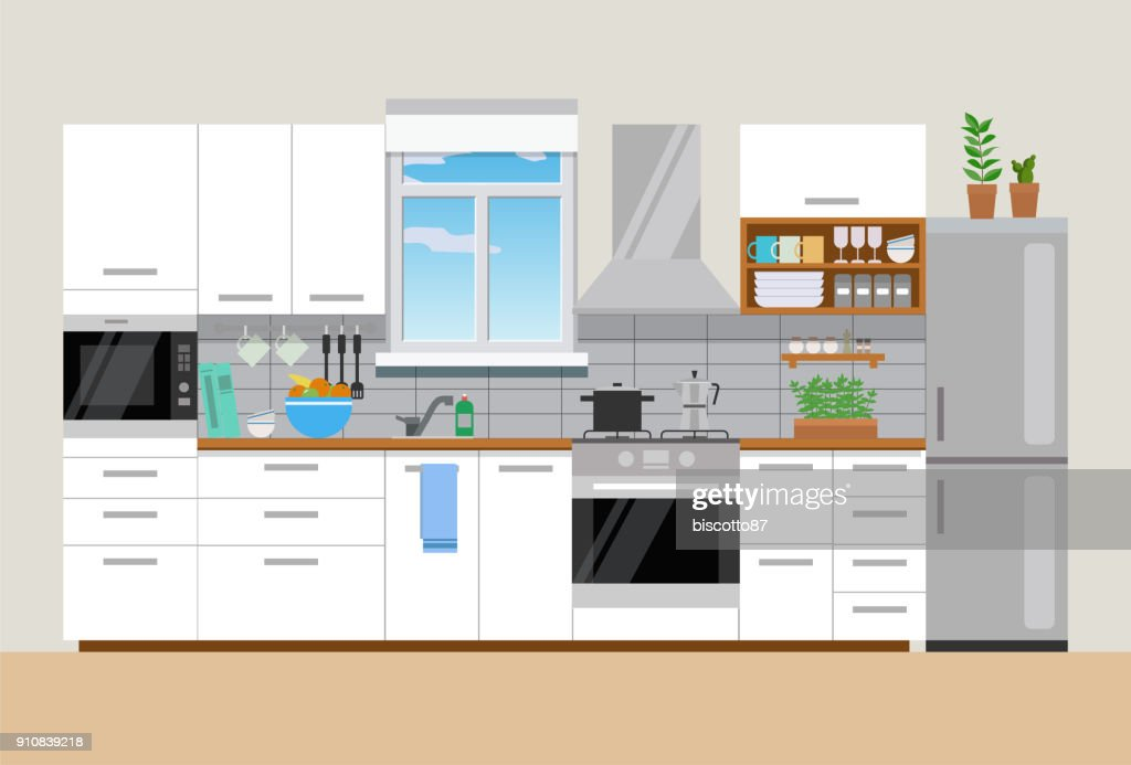 Modern cozy kitchen interior, flat style, vector graphic design template